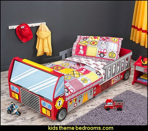 Fire Truck Multicolored 4-piece Toddler Bedding