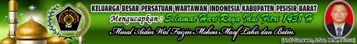 Keluarga Besar Persatuan Wartawan Indonesia Kabupaten Pesisir Barat Mengucapkan Selamat Hari Raya Idul Fitri 1438 Hijriyah. Minal Aidzin Walfaidzin Mohon Maaf Lahir dan Batin
