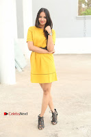 Actress Poojitha Stills in Yellow Short Dress at Darshakudu Movie Teaser Launch .COM 0005.JPG