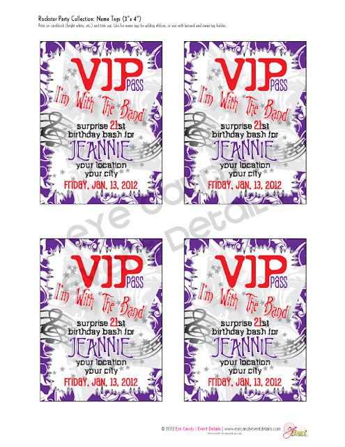 VIP pass nametags, VIP passes, rocker birthday party, rock n roll