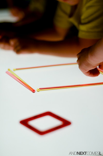Shape building challenge on the light table - simple sensory activity for kids from And Next Comes L
