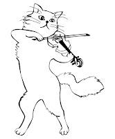 דף צביעה חתול מנגן על כינור