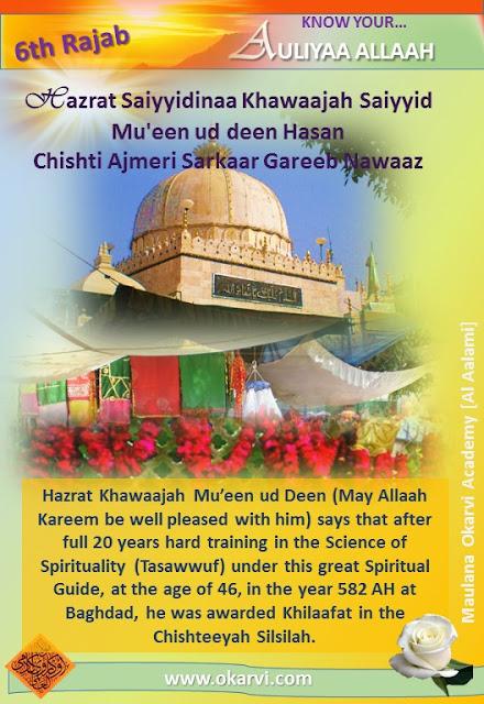 Hazrat Saiyyidinaa Khawaajah Saiyyid Mu'een ud deen Hasan Chishti Ajmeri Sarkaar Gareeb Nawaaz (Radiyal Laahu 'Anhu) Khilaafat In The Chishtia Silsilaah