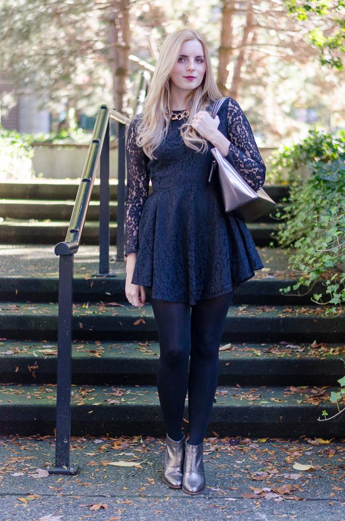 Full Sleeved black H&M lace skater dress