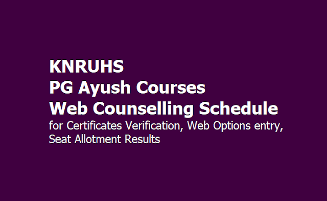 KNRUHS PG Ayush Courses Web Counselling Schedule 2019 for Certificates Verification, Web Options entry, Seat Allotment Results