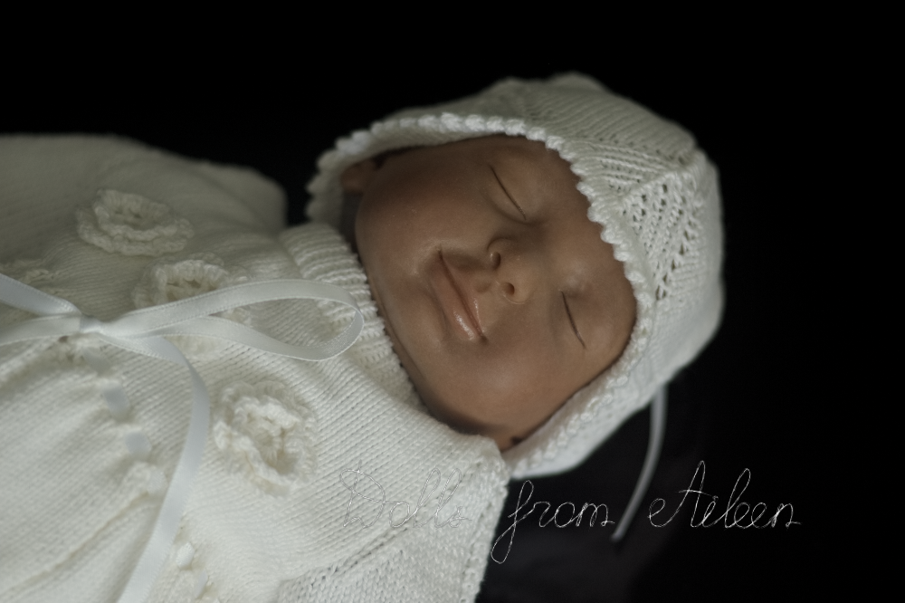 ooak baby girl doll dressed in Christening dress