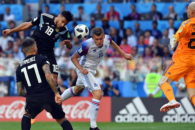 Alfred Finnbogason in action in Iceland's first-ever World Cup game, against Argentina