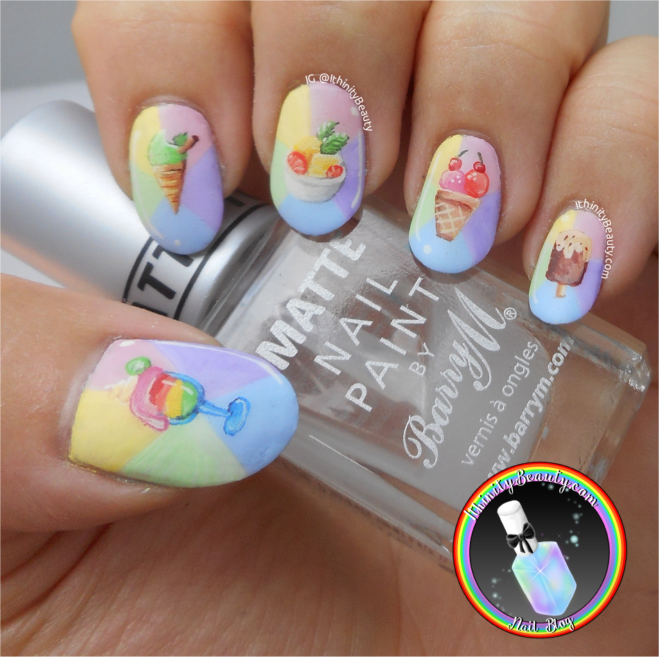 Freehand fancy summer ice cream nail art on pastels for this manicure i decided to go as light as possible with my acrylic paints creating a sort of pin wheel of pastel shades for my summer treats to go on solutioingenieria Choice Image