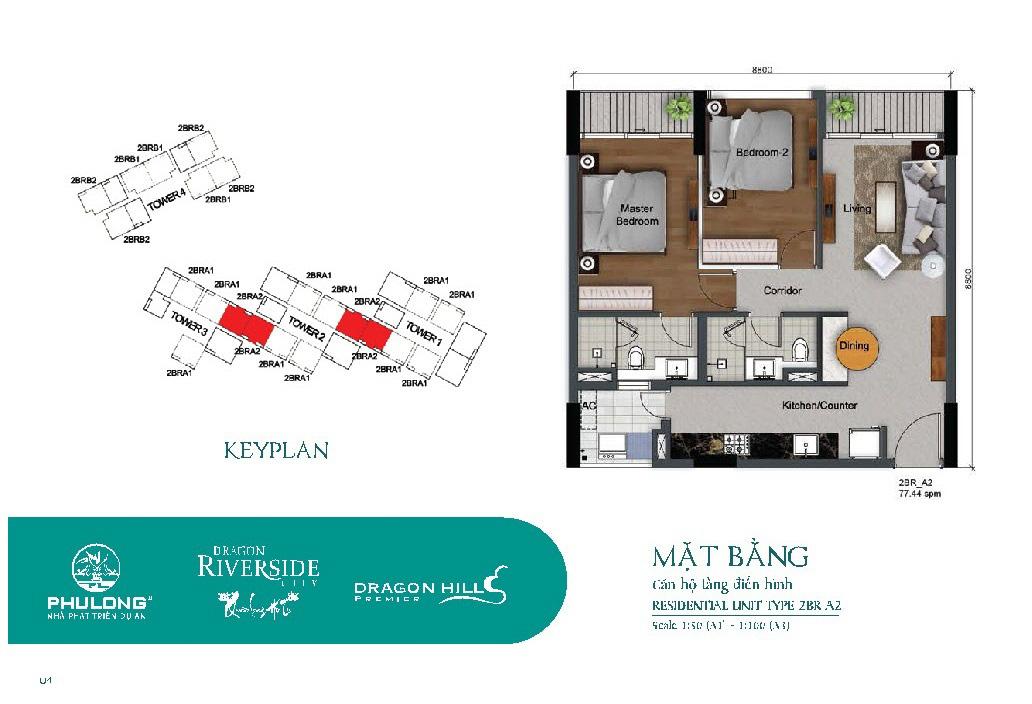 Thiết kế căn 2 phòng ngủ 77.44m2 tại Dragon Riverside