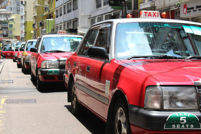 Old red taxis, Hong Kong - Asia travel blog