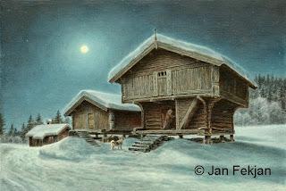 Bilde av digigrafiet 'Måneskinnskveld'. Digitalt trykk laget på bakgrunn av et maleri. Et gårdsmotiv i en stjerneklar vinternatt. Bildet viser to stabbur og en stue. En kvinne står i døråpningen til det største stabburet, mens en elghund står utenfor på snøen og venter. Over husene lyser månen opp nattehimmelen. Stilen kan beskrives som figurativ, nasjonalromantisk og realistisk. Bildet er i breddeformat.