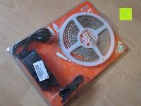 Verpackung: LIHAO 5M LED Strip Warmweiß 600 SMDs Band wasserdicht Streifen mit Hohlbuchse+Netzteil DC 12V Trafo Set [Energieklasse A]
