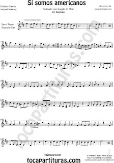 Soprano Sax y Saxo Tenor Partitura de Si Somos Americanos Sheet Music for Soprano Sax and Tenor Saxophone Music Scores