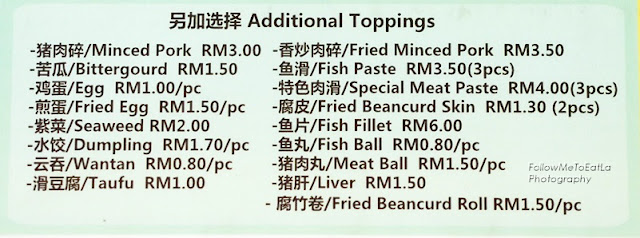 Additional Toppings Menu
