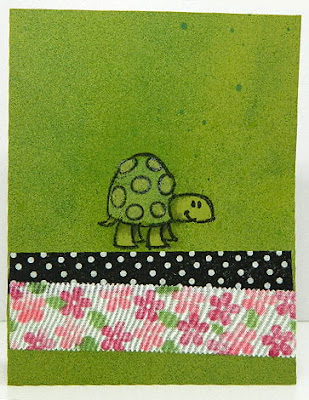 Turtle card experiment with homemade washi tape