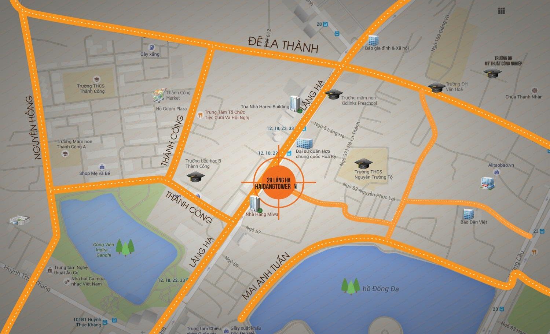 Vị trí chung cư Mon Central 29 Láng Hạ
