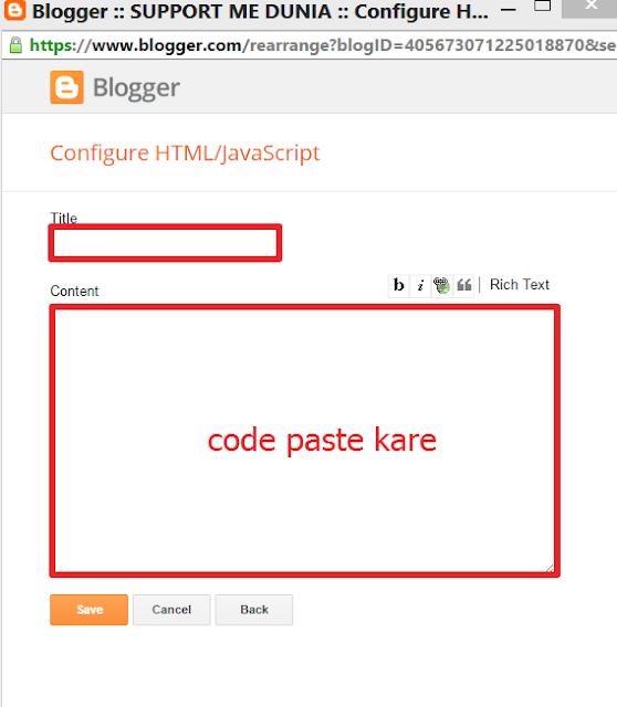 code paste karein