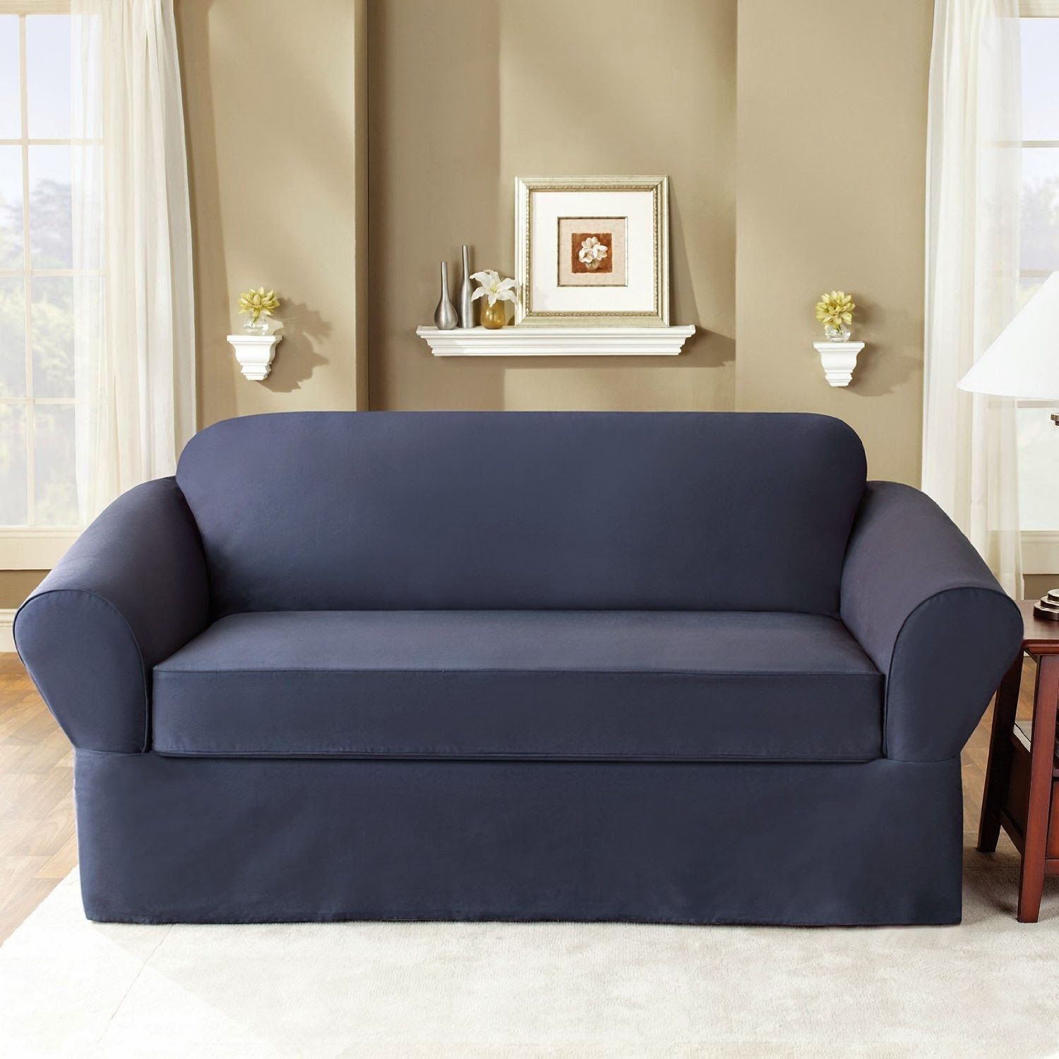 Double Recliner Sofa Cover Custom Sofas Las Vegas Sure Fit Dual Reclining Slipcover