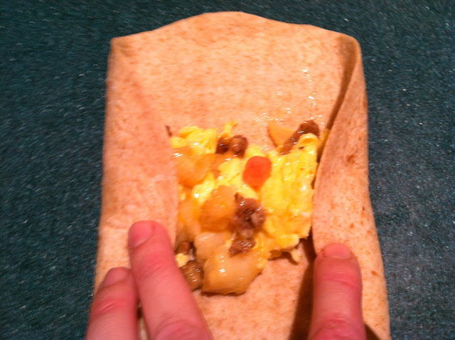 How to roll a breakfast burrito, freeze them for a quick breakfast