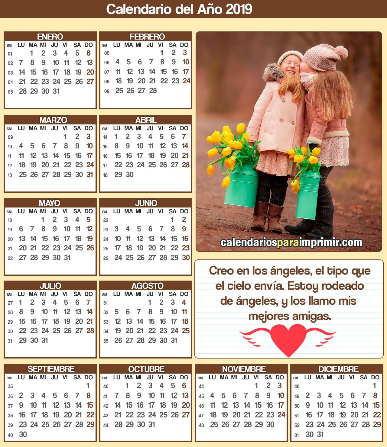 calendario para imprimir 2019 amistad