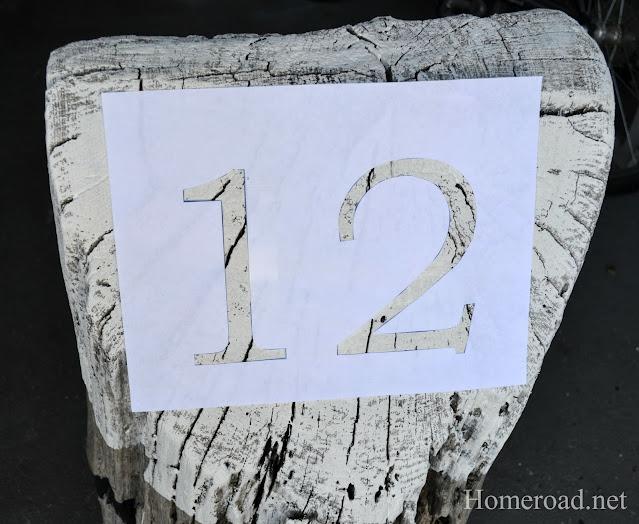 12 stencil on stump
