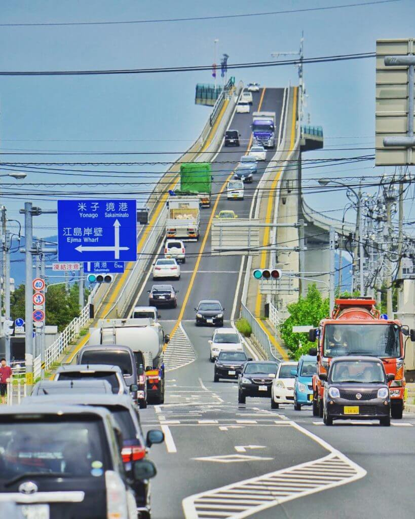 The 15 Most Hazardous Roads In The World - Eshima Ohashi Bridge, Japan