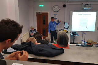 Richard Gottfried presenting about Crazy Golf at the Dull Men's Club Summit in Preston