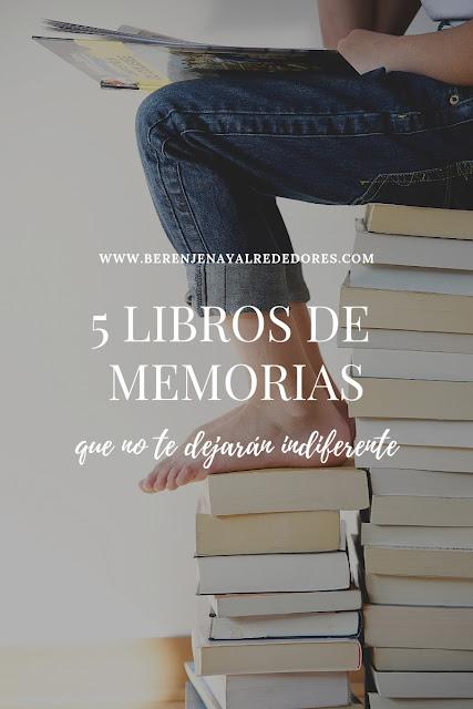"""Persona leyendo sobre una pila de libros con el texto sobreimpreso """"5 libros de memorias que no te dejarán indiferente"""""""