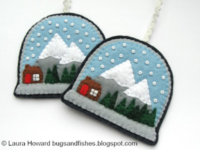 felt snow globe Christmas ornaments