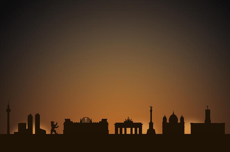 berlin city skyline candle holder