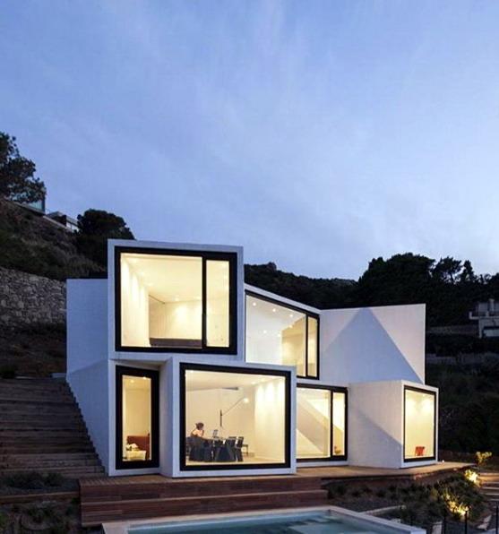 gambar rumah minimalis terbaru konsep box tumpuk tidak beraturan