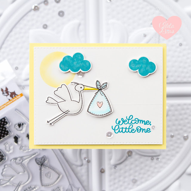 Welcome Little One Card - Flying Stork on a Sliding Track by Ilovedoingallthingscrafty