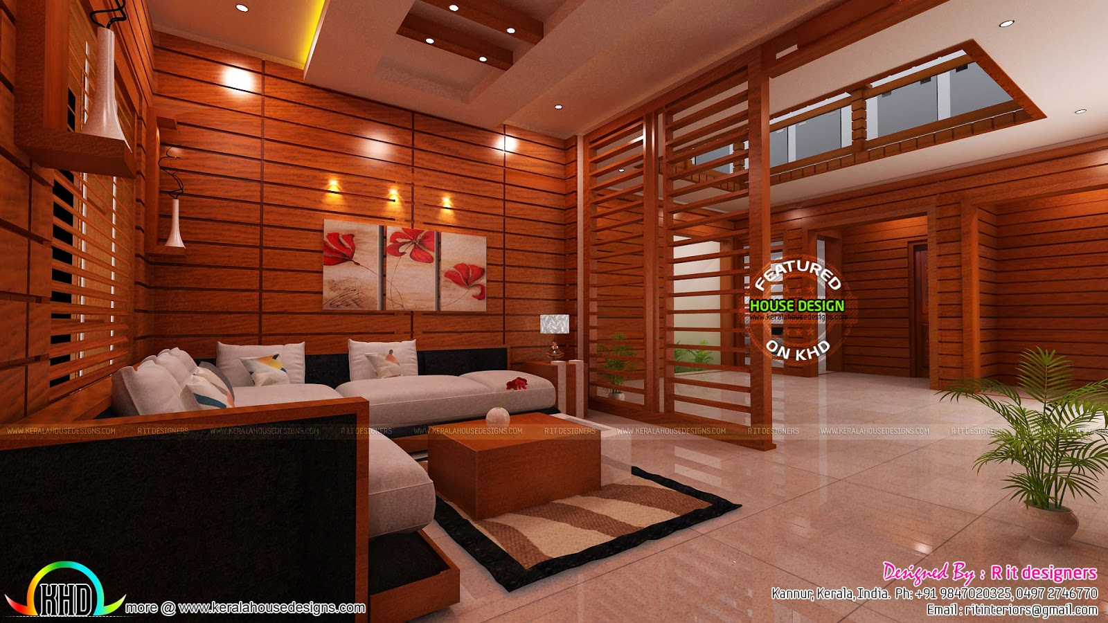 Modular kitchen living and bedroom interior kerala home for Kerala home living room designs