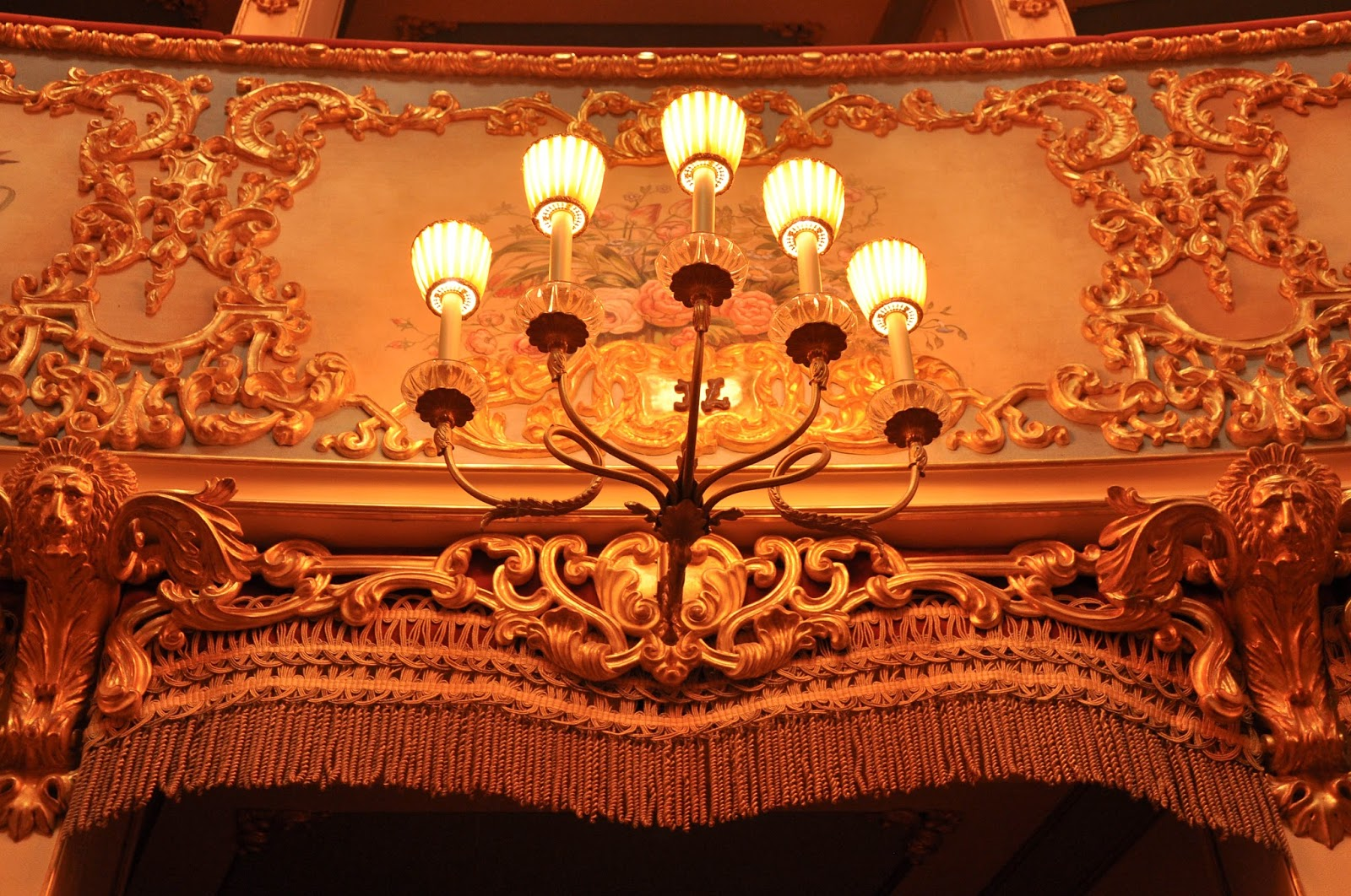A close up of the lights on the boxes, La Fenice, Venice, Italy