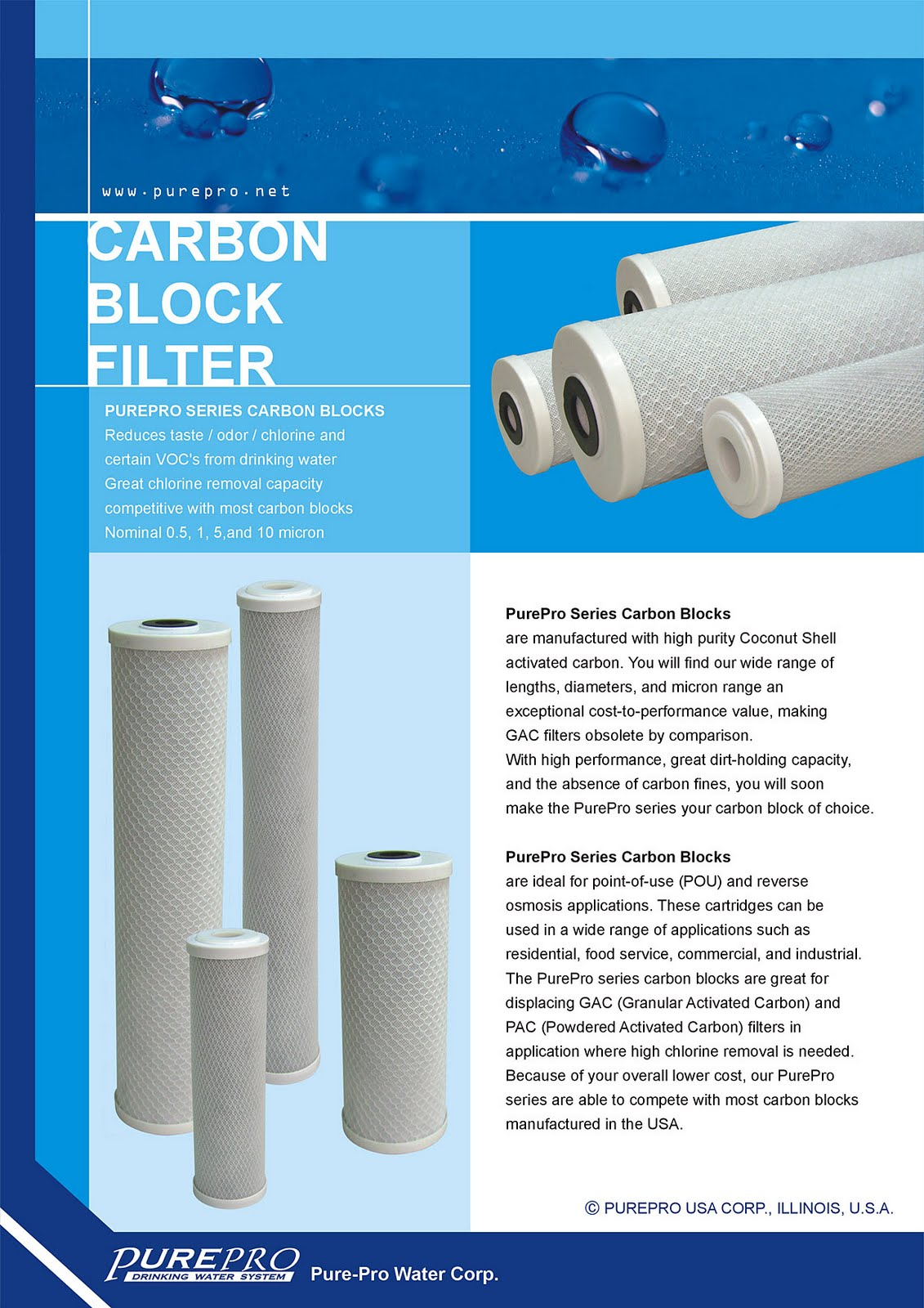 PurePro® USA Block Carbon Filter