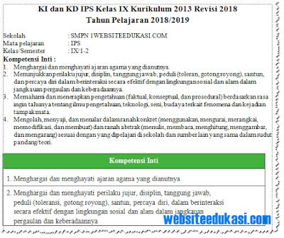 KI KD IPS Kelas 9 SMP/MTs K13 Revisi 2018