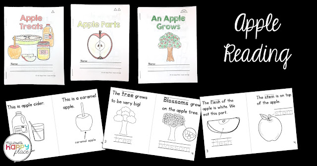 apple readers mini-books differentiated in three topics and three levels
