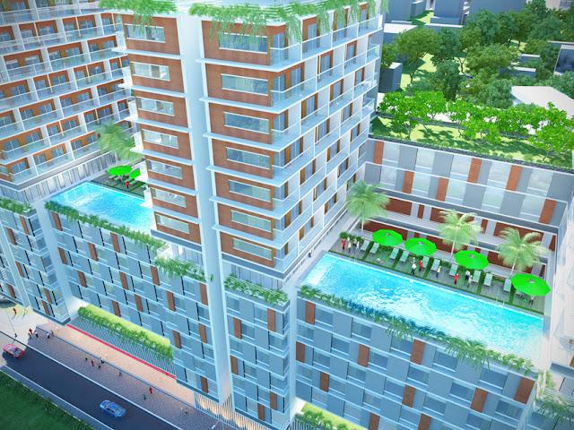 Phối cảnh hồ bơi nhìn từ trên cao dự án căn hộ, văn phòng Charmington Lapointe 181 Cao Thắng, phường 12, quận 10, TP.HCM