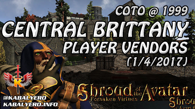 Shroud Of The Avatar Market Watch 💰 COTO @ 1999, Central Brittany Player Vendors (1/4/2017)