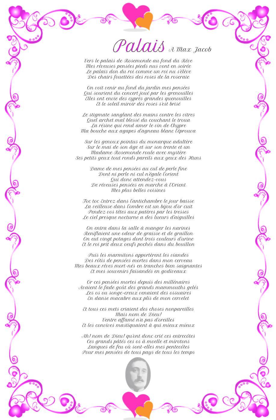 Palais, poème de Guillaume Apollinaire