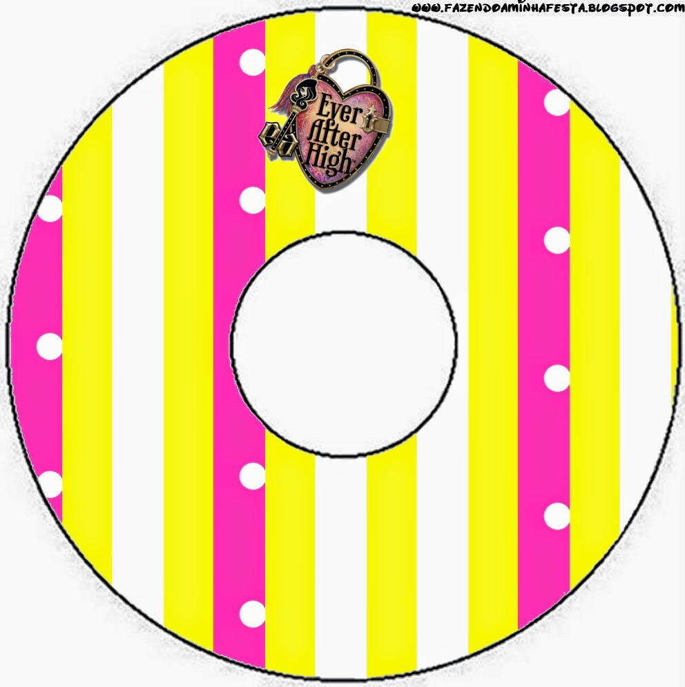 Etiquetas de Ever After High Amarillo y Rosa para CD's.