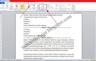 Dalam kehidupan kita sehari hari selalu berkaitan dengan banyak dokumen yang isinya berbed Cara Membuat Mail Merge Pada Ms.Word 2010