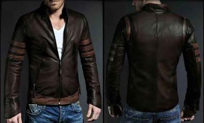 model jaket kulit pemeran film wolverine