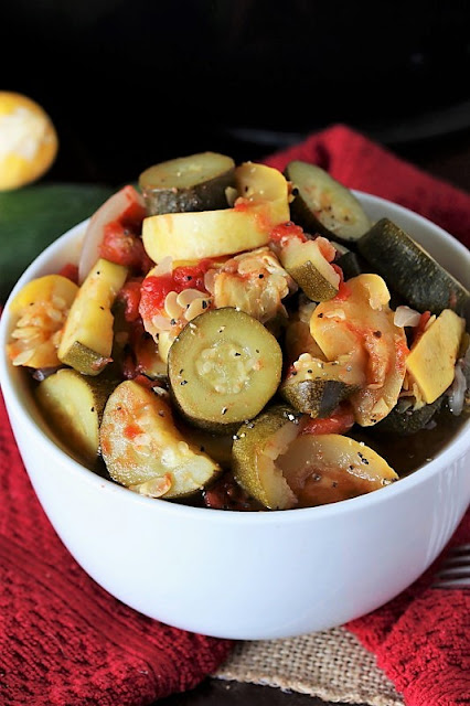 Bowl of Stewed Zucchini & Summer Squash Image