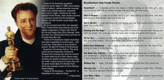 FRANKE & THE KNOCKOUTS - The Best Of: Sweetheart Anniversary Edition [Friday Music remaster] booklet