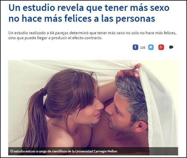 Un estudio revela que tener mas sexo no hace más felices a las personas