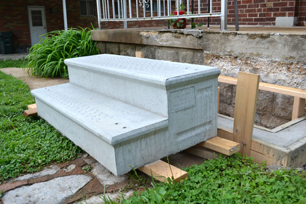 Replacing Our Crumbling Concrete Porch Steps Lansdowne Life   Ready Made Outdoor Stairs