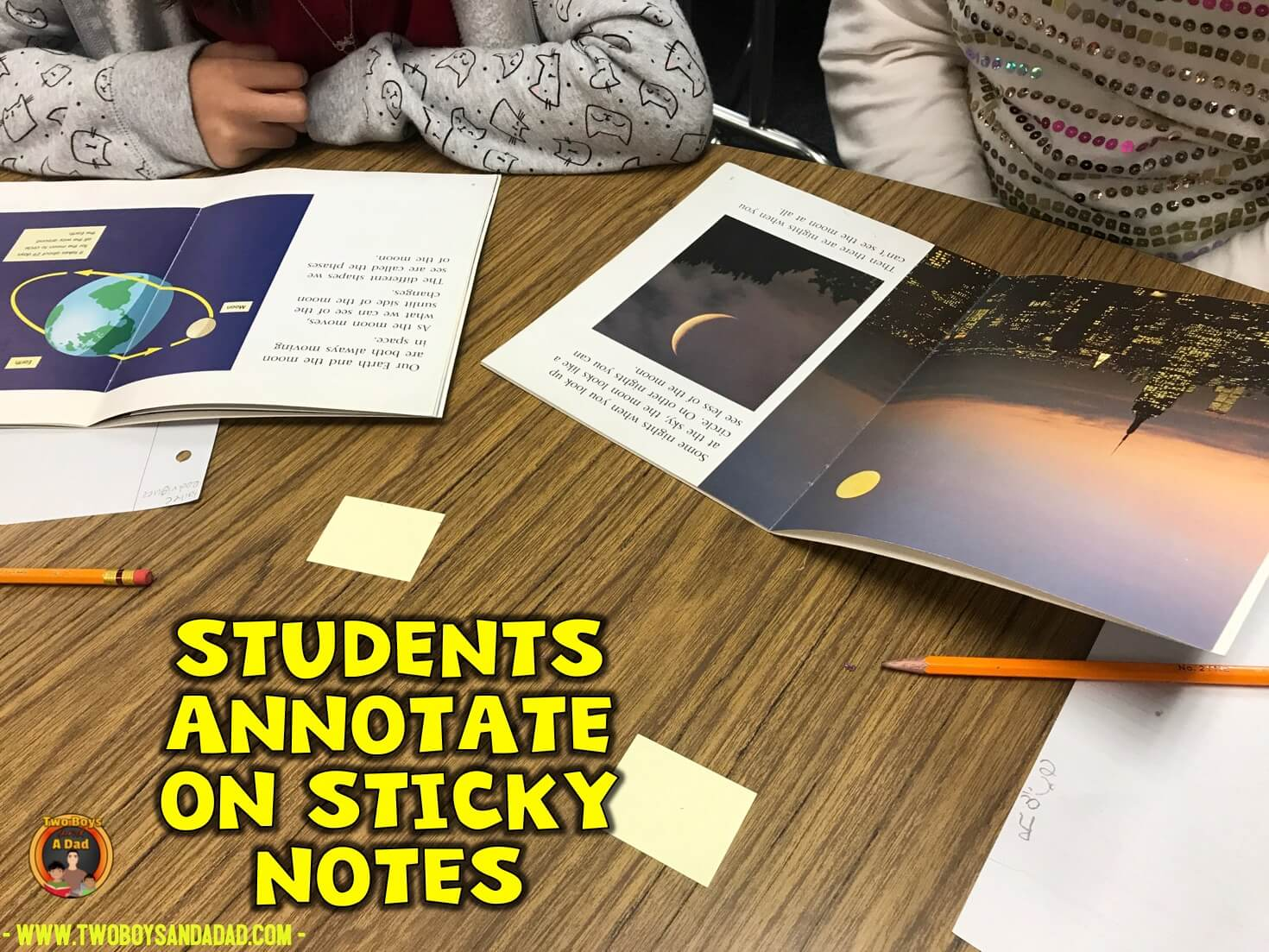 students annotate with sticky notes