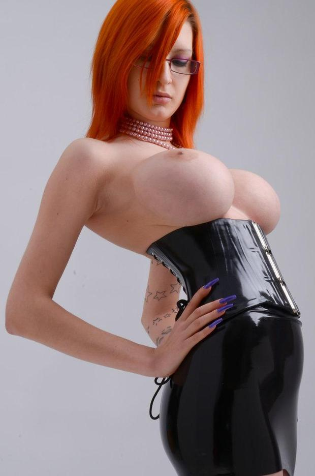 Babes Red Haired Girl With Big Breasts Reveals In Latex Fuq Com 1