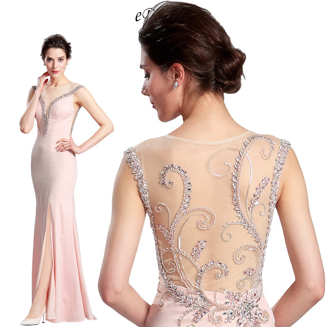 Pink Sleeveless Long split Prom Party Dress